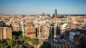 View of Barcelona from Sagrada familia tower. Royalty Free Stock Photos