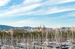 View at Barcelona and sail boats in Port Vell, Barcelona Spain Royalty Free Stock Photography