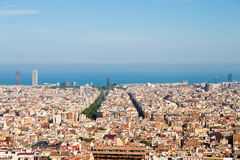View of Barcelona and sea from Park Guell Stock Photography
