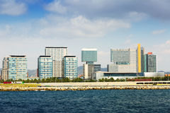 View of Barcelona from sea side royalty free stock photo