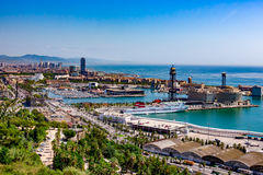 View of Barcelona Seaport Stock Images
