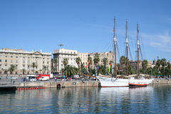 View of Barcelona from seaside Royalty Free Stock Photography