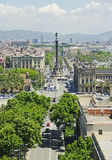 View of Barcelona, Spain. A view across Barcelona in Spain showing the Columbus Monument showing the wide roads and some of the best architecture in the city Stock Photo