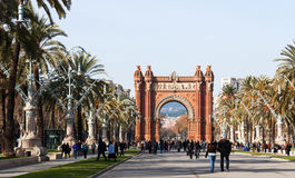 View of Barcelona, Spain. Arc del Triomf Royalty Free Stock Photos