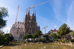 Basilica and Expiatory Church of the Holy Family. View of Barcelona, Spain.  Basilica and Expiatory Church of the Holy Family (Sagrada Familia Stock Images