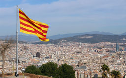 View of Barcelona, Spain. View of Barcelona, Spain with Catalonia flag stock photography