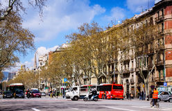 View of Barcelona, Spain. Passeig de Sant Joan Royalty Free Stock Photography