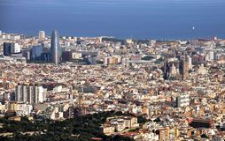 View of Barcelona from Tibidabo Mountain royalty free stock photo
