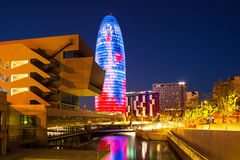 View of Barcelona,  Torre agbar skyscraper in night Royalty Free Stock Photography