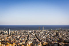 View of Barcelona, tower Agbar, the twin towers and The Sagrada Familia Basilica Royalty Free Stock Image
