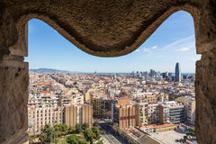 View of Barcelona from tower of Sagrada Familia Royalty Free Stock Images