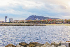 View of Barceloneta beach. Barceloneta luxury beach and quay, Barcelona, Spain Stock Images