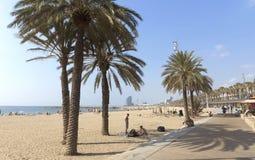 View of Barceloneta Beach from promenade Royalty Free Stock Photos