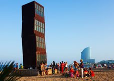 View of Barceloneta Beach in summer evening Royalty Free Stock Image