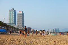 View of Barceloneta Beach in summer evening Stock Photography