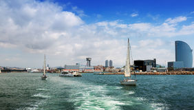View of Barceloneta from sea side. Barcelona Royalty Free Stock Photos
