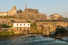 View of Barcelos city. BARCELOS, PORTUGAL - CIRCA JAUARY 2019: View of Barcelos city with Cavado river in Portugal. It is one of the growing municipalities in stock photography