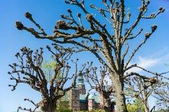 View through bare trees at beautiful famous Rosenborg castle at sunny day,. Copenhagen, Denmark stock image