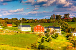View of barn and houses on a farm in rural York County, Pennsylv Stock Photography