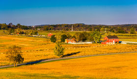 View of barns and farm fields from Longstreet Observation Tower stock images