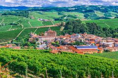 View of Barolo in the Province of Cuneo, Piedmont, Italy.  royalty free stock images