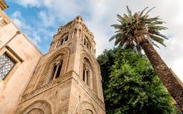 View of the baroque facade with the Romanesque belltower of Santa Maria dell`Ammiraglio Church known as Martorana Church, Palermo. Italy stock photography