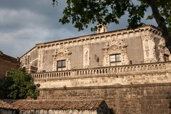 View of the baroque palace Biscari, Catania, Sicily, Italy. View of the baroque palace Biscari in Catania, Sicily. Italy royalty free stock image