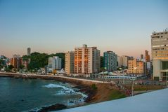View of Barra beach and famous Farol da Barra in Salvador, Bahia, Brazil. South America stock images