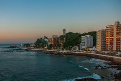 View of Barra beach and famous Farol da Barra in Salvador, Bahia, Brazil. South America royalty free stock images