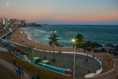 View of Barra beach and famous Farol da Barra in Salvador, Bahia, Brazil. South America royalty free stock photo