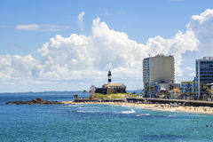 View of Barra Beach in Salvador, Bahia, Brazil. View of Farol da Barra (Barra Lighthouse) and Barra beach in Salvador, Bahia, Brazil stock photography