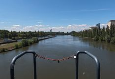 View from the barrage and lock Offenbach on the Main river.  royalty free stock image