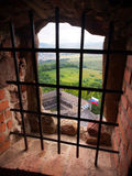 A view through a barred window, Lubovna castle royalty free stock photo