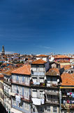 View on Barredo distric. View on old houses in Barredo district, Porto. In the background Clerigos Tower Royalty Free Stock Photography