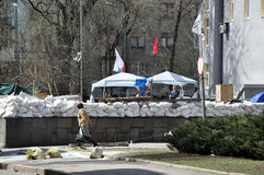 View of the barricades. The photo was taken April 18, 2014. Pro-russian separatists seized a government building in Donetsk and require adherence to Russia Stock Image