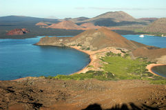 View from Bartolome Island, Galapagos. With cruise ship at Sullivan Bay Royalty Free Stock Photo