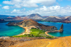View from Bartolome Island. View of two beaches on Barolome Island in the Galapagos Islands in Ecuador Stock Photo