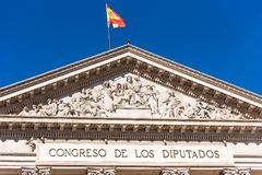 View of the bas-relief of the building of the Congress of Deputies, Madrid, Spain. Copy space for text. Stock Photography