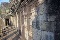 View bas-reliefs on the walls of the temple of Bayon Royalty Free Stock Photo