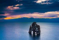 View of basalt stack Hvitserkur at Vatnsnes peninsula Royalty Free Stock Image