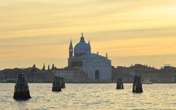 View Basilica Del Santissimo Redentore auf Giudecca-Insel auf Sonnenuntergang lizenzfreies stockfoto