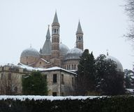 View of the Basilica del Santo in Padua. The winter view of the Saint represented in the photo is not well known because it faces south. To achieve a suitable Stock Photo