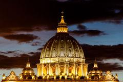 View of Basilica di San Pietro Dom, night,Vatican City in Rome, Italy Royalty Free Stock Images