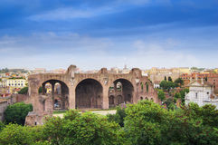 View of Basilica of Maxentius Roman Forum Stock Photography