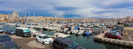 The view on basilica of Notre-Dame-de-la-Ga rde from the Old Port of Marseille. Royalty Free Stock Image