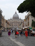 View of   Basilica of Saint Peter and Street Via della Conciliazione, Rome, Royalty Free Stock Photos