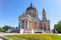 View of Basilica of Superga in the City of Turin, Italy. Basilica di Superga, a baroque church on Turin Torino  hills, Italy, Europe Stock Photography