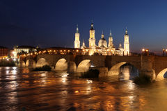 View of the basilica of the Virgen del Pilar and Ebro river, on Royalty Free Stock Images