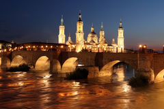 View of the basilica of the Virgen del Pilar and Ebro river, on Stock Image