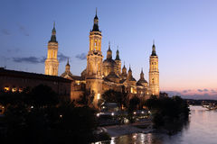 View of the basilica of the Virgen del Pilar and Ebro river, Zar Stock Photography